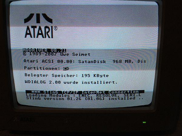Atari EtherNEC - Bootscreen mit StinG am Schluss