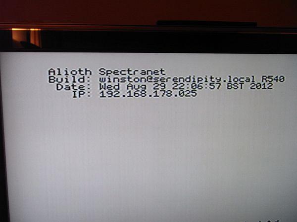 Spectranet - Anzeige nach dem Bootvorgang