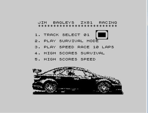 Jim Bagley's ZX81 Racing Haupmenü