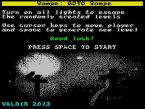 GOTO Vampe - Startscreen