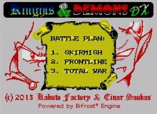 Knight & Demons DX - Menü