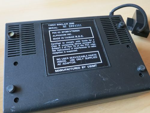 Timex Sinclair 2040 - Unterseite
