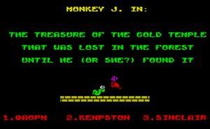MONKEY J The treasure of the gold temple - Startbildschirm
