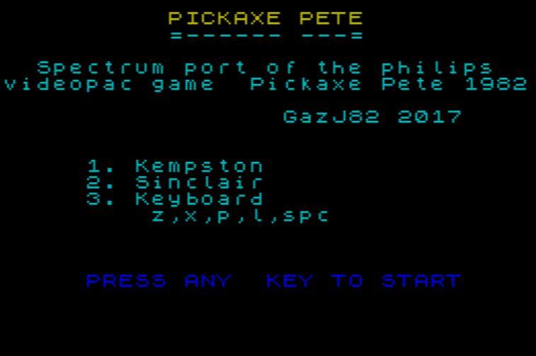 Pickaxe Pete - Startscreen