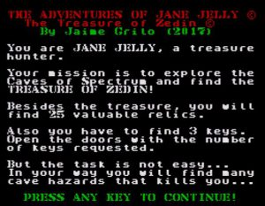 The Adventures of Jane Jelly - Startscreen