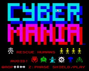 Cybermania - Startbildschirm