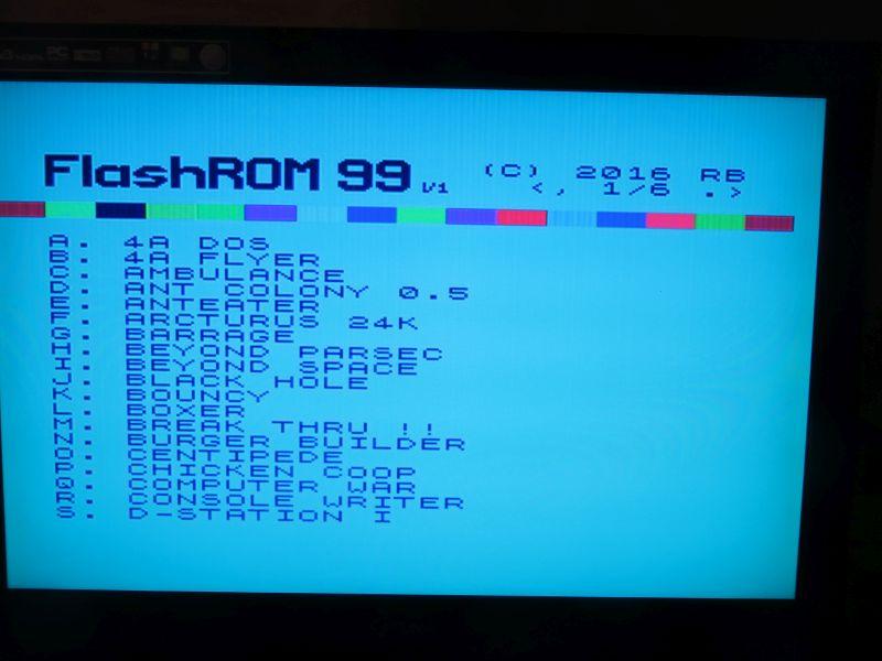 FlashROM 99 TI Auswahlmenü