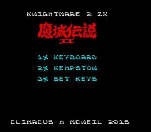 Knightmare 2 ZX - Menü