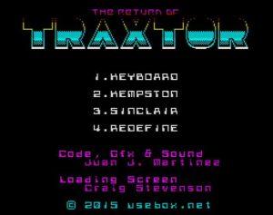 Return of Traxtor - Menü