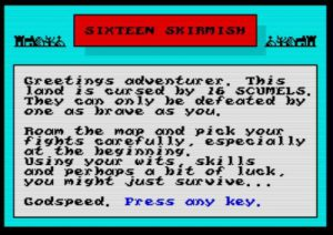 Sixteen Skirmish - Startbildschirm